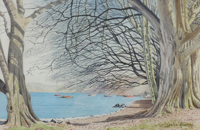 Fell Foot, Windermere,  watercolour by T Leslie Hawkes 1983