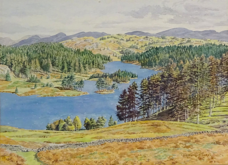 Tarn Hows,  watercolour by T Leslie Hawkes 1985
