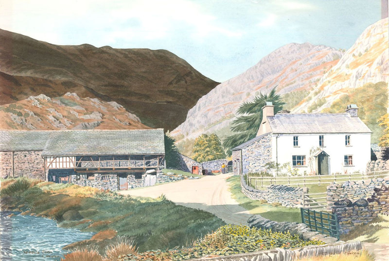 Yewdale Farm, Coniston, watercolour by T Leslie Hawkes 1979