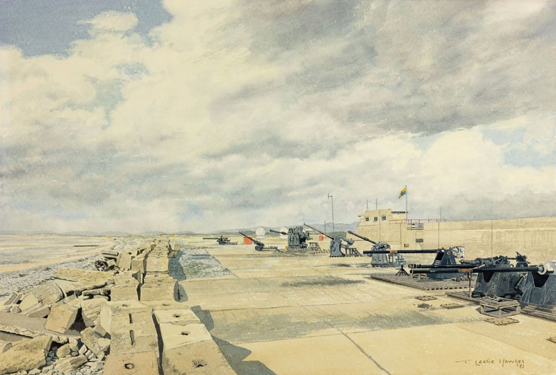 Eskmeal Firing Range, Cumbria, watercolour by T Leslie Hawkes 1983